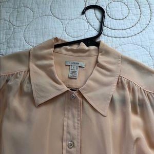 J. Crew peach silk blouse